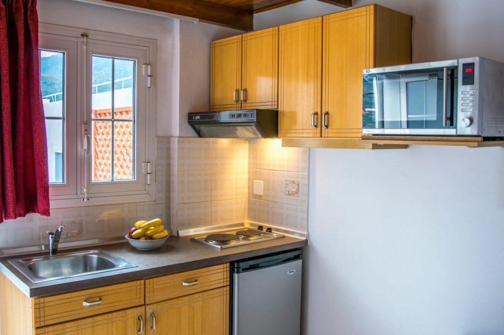 Split-level apartment kitchen